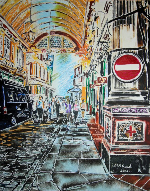 Watercolour and acrylic ink painting of Leadenhall Market by Cathy Read.