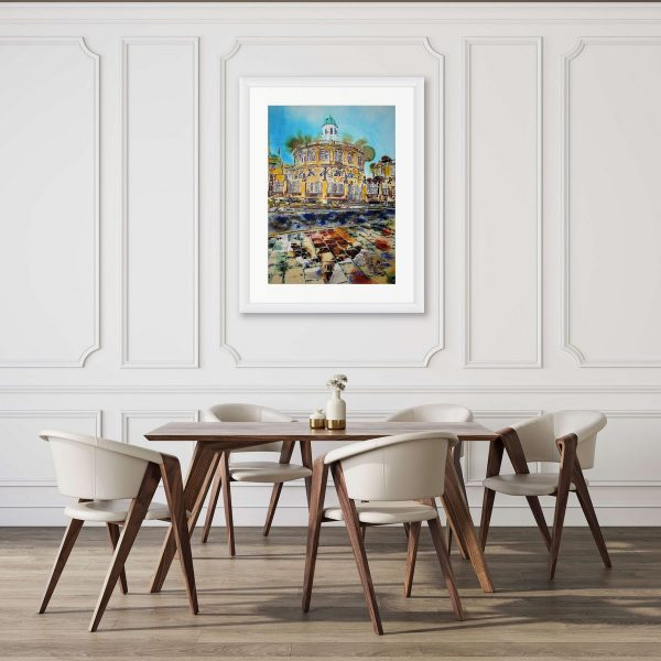 Sheldonian Theatre Reflections painting by Cathy Read in room setting.