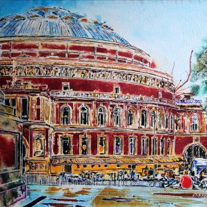An original painting of the Albert Hall in London by artist Cathy Read