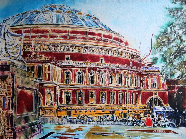 Painting of the Albert Hall, London by contemporary artist Cathy Read