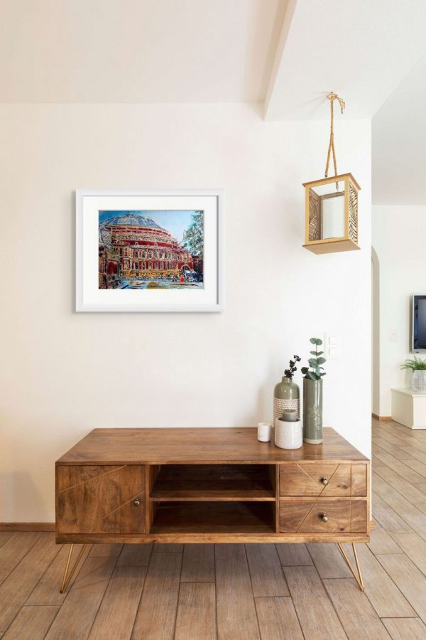 Room setting with a painting of the Albert Hall by artist Cathy Readt