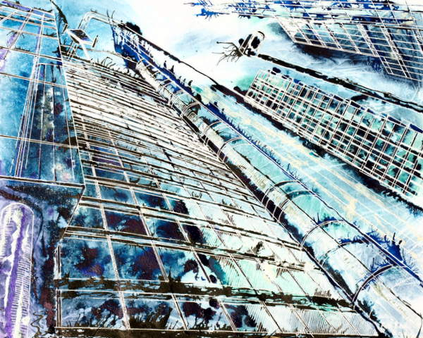 Anonymous in the City - ©2013 - Cathy Read -  Watercolour and Acrylic- 40 x 50 cm