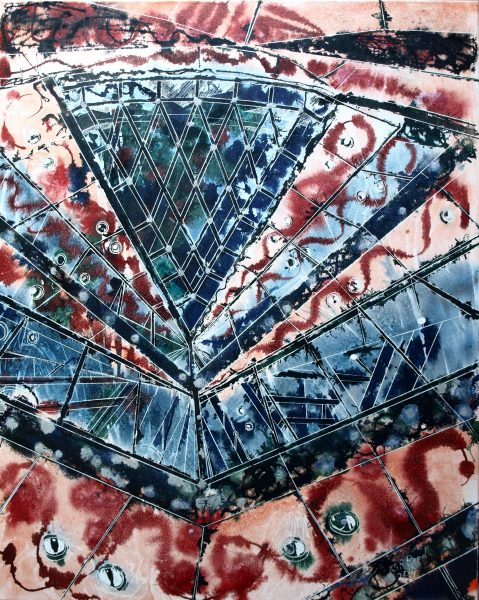 Gherkin Abstract - ©2014 - Cathy Read - Watercolour and Acrylic ink on canvas - 102 x 81cm
