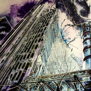 Looming-London-Architecture- ©2016-Cathy Read-Watercolour-and-Acrylic-50-x-40-cm