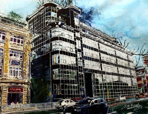Great-Ancoats-Street-©2017-Cathy-Read-Watercolour-and-Acrylic-ink-40-x-50-cm-SOLD