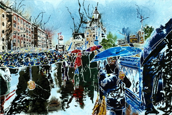 ©2015 - Cathy Read - Summer's Day in London- Watercolour and Acrylic - 30 x 45  - SOLD