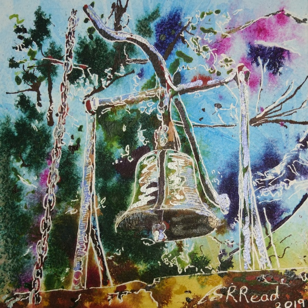 Bell Gate at Stowe -  ©2019 - Cathy Read -Watercolour and Acrylic - 17.8x17.8cm
