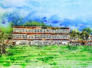 Royal Latin School - Building on 600 years - ©2013-Cathy Read - Watercolour and Acrylic ink - 43 x 106cm = SOLD