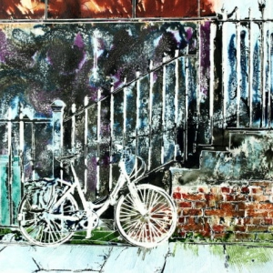 White Bicycle- ©2015 - Cathy Read -Watercolour and Acrylic - 40 x 50 cm