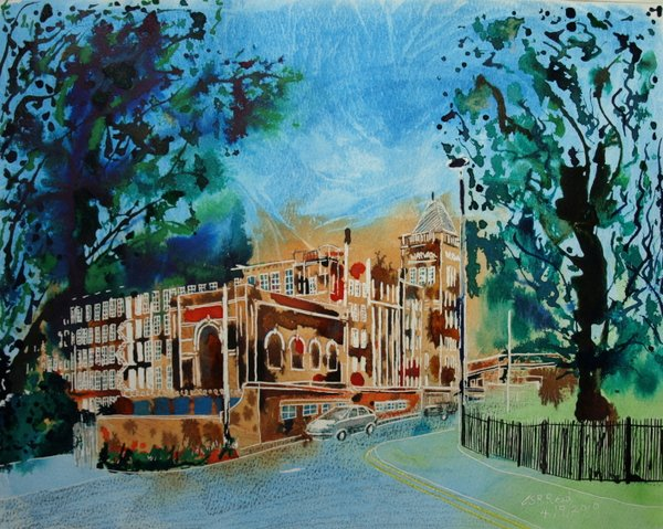 Warwick Mill - ©2010-Cathy-Read-Watercolour and acrylic ink - 40cm x 50cm