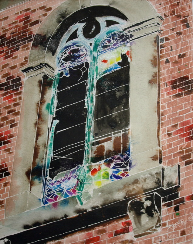Window on the past- ©2010 Cathy Read -40.6x50.8cm- Mixed media on paper