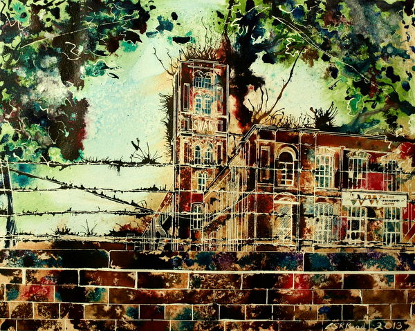 Swan Mill - ©2013 - Cathy Read - Watercolour and acrylic ink -40x50cm - SOLD