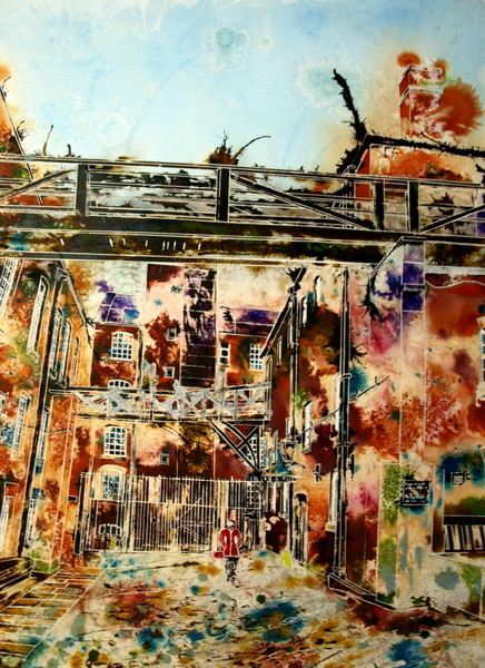 Dirty Old Mill - ©2013 - Cathy Read -Watercolour and acrylic ink - 75 x 55 cm - Sold