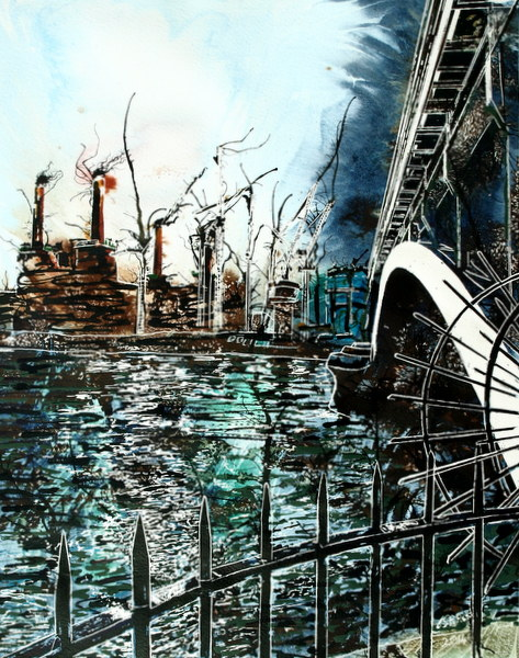 Battersea under Chelsea Bridge ©2014 - Cathy Read -  Watercolour and Acrylic  - 40 x 50 cm