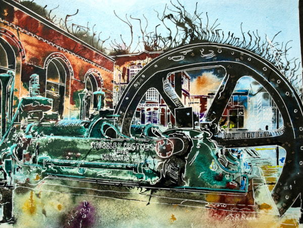 Crossley Engine -  Cathy Read - ©2015 = Watercolour and acrylic ink - 28x38cm