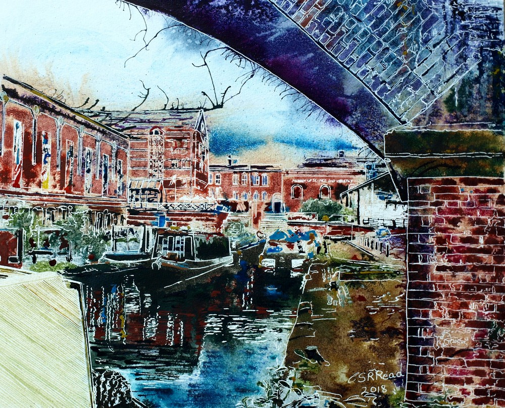 Castlefields Basin Cathy Read-©2018- Watercolour and Acrylic Ink