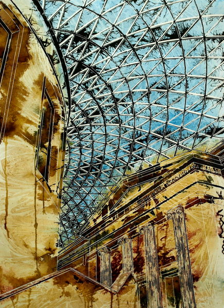 Roof of the British Museum - ©2013 - Cathy Read -  - Watercolour and Acrylic - 75 x 55 cm