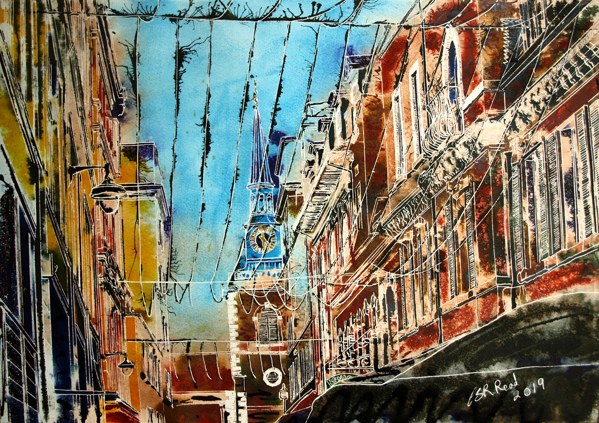 Blue Spire of St James - ©2019 - Cathy Read - watercolour and acrylic ink - 42 x 59 cm 1200