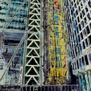 Cheesegrater - ©2014 - Cathy Read - Watercolour and Acrylic - 38x28 cm (SOLD)