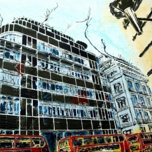 Fleet Street Express Building - ©2016 Cathy Read -Watercolour and acylic ink - 56 x 76.5cm