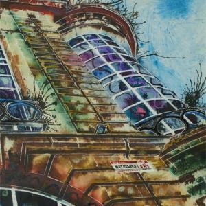 Haymarket-Corner - October - Cathy-Read- ©2018-Watercolour and Acrylic-40x 50cm