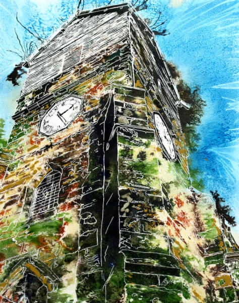 Wooden Tower of St Leonards  Cathy Read - - ©2015 Watercolour and acrylic ink - 40x50cm