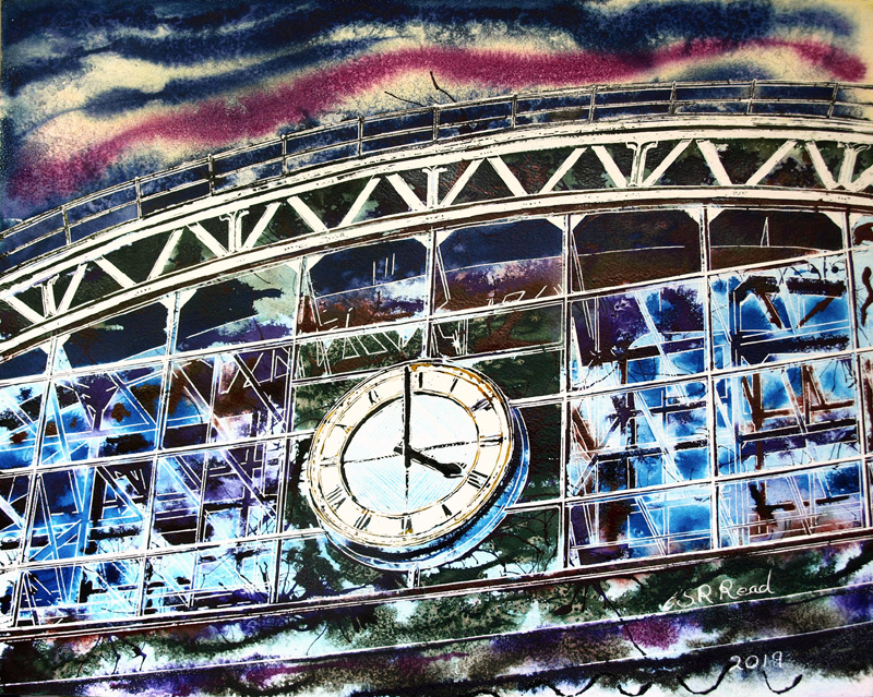 Central Station - Cathy Read - ©2019 - Watercolour and Acrylic - 40 x 50 cm