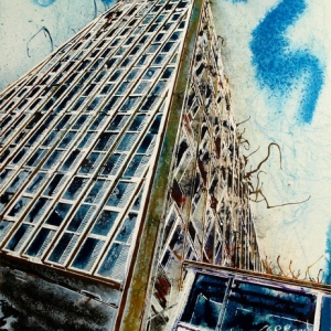 Toast Rack Towers Cathy Read - ©2018 Watercolour and acrylic ink - 28x38cm