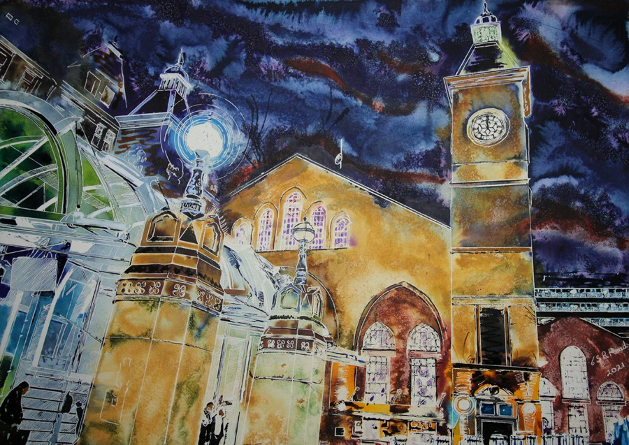 Liverpool Street Station - ©2021 - Cathy Read - Watercolour and acrylic - 56 cm x 76 cm