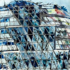 City Hall London-  ©2013-Cathy-Read-Watercolour-and-Acrylic-55-x-75-cm