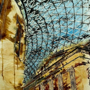 Roof of the British Museum - ©2014 - Cathy Read -  Watercolour and Acrylic - 75 x 55 cm