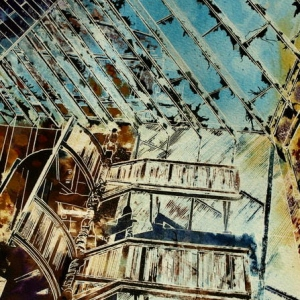Stairway to Heaven -  ©2014 - Cathy Read - Watercolour and Acrylic - 38x28 cm - £297
