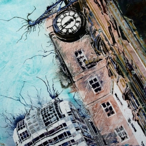 Gracechurch-Street- ©2017-Cathy-Read-Watercolour-and-Acrylic-ink 40 x 50cam