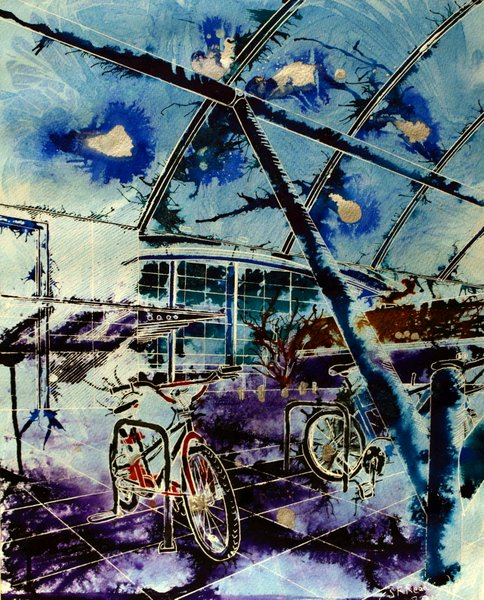 Cycle Social -©2012 -Watercolour and acrylic ink - 50 x 40cm - £577