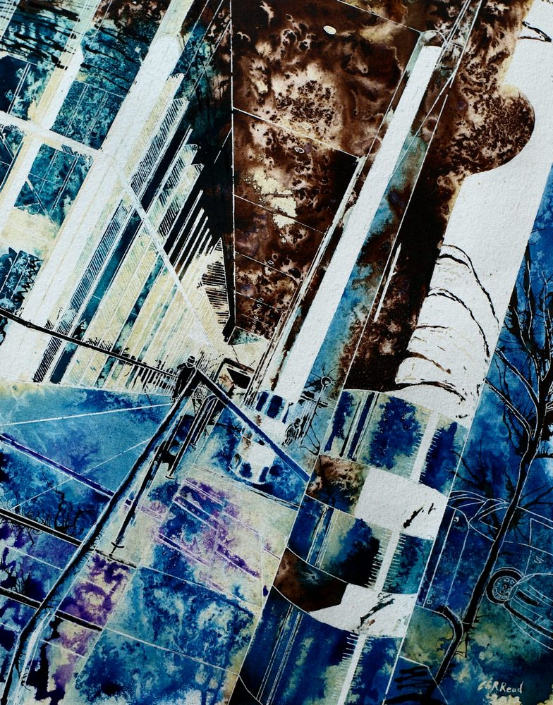 Watching the Urban Forager -  ©2012 - Cathy Read - Watercolour and acrylic ink- 50x40cm