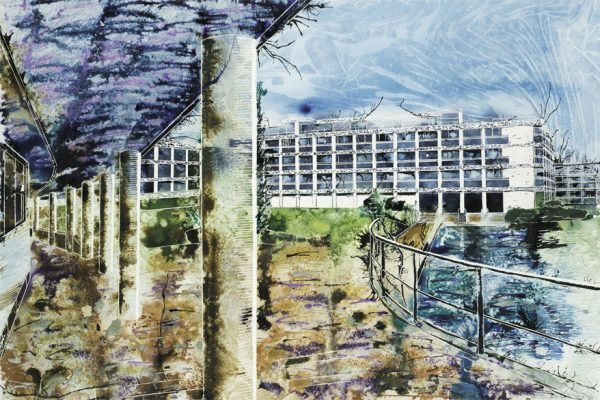 Wolfson College, Oxford - River Quad - ©2013 - Cathy Read -  Watercolour and Acrylic- 75 x 55 cm