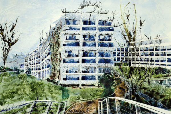 Wolfson College, Oxford - View from Rainbow Bridge ©2013 - Cathy Read - Watercolour and Acrylic- 75 x 55 cm