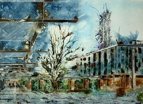 ©2013 - Cathy Read - St Catherine's Main Quad - Watercolour and Acrylic- 55 x 75 cm.