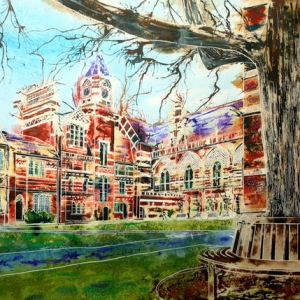 Keble College, Oxford - Pusey Quad -©2013 - Cathy Read -  Watercolour and Acrylic- 55 x 75 cm