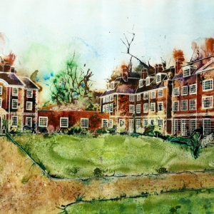 Lady Margaret Hall, Oxford - Toynbee and Deneke West ©2013 - Cathy Read - Watercolour and Acrylic - 55x75cm
