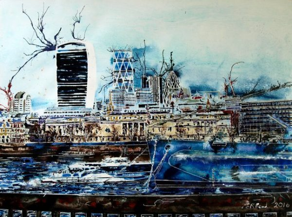 Life and death on the Thames -©2017-Cathy-Read-Watercolour-and-acrylic-ink-56-x-76-cm