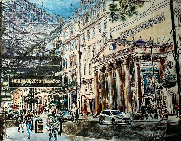 The Haymarket - ©2017-Cathy-Read-watercolour and acrylic ink-56x76cm