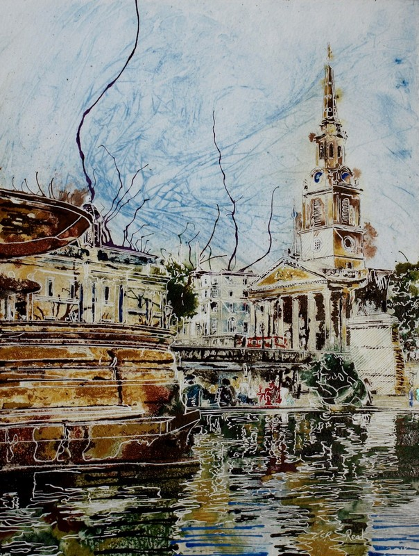 Trafalgar-Fountain - ©2018-Cathy-Read-Watercolour-and-Acrylic-40-x-30-cm-£390