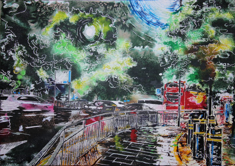 Leaving Hammersmith Apollo- ©2020-Cathy-Read-Watercolour-and-Acrylic-on-paper-on-board