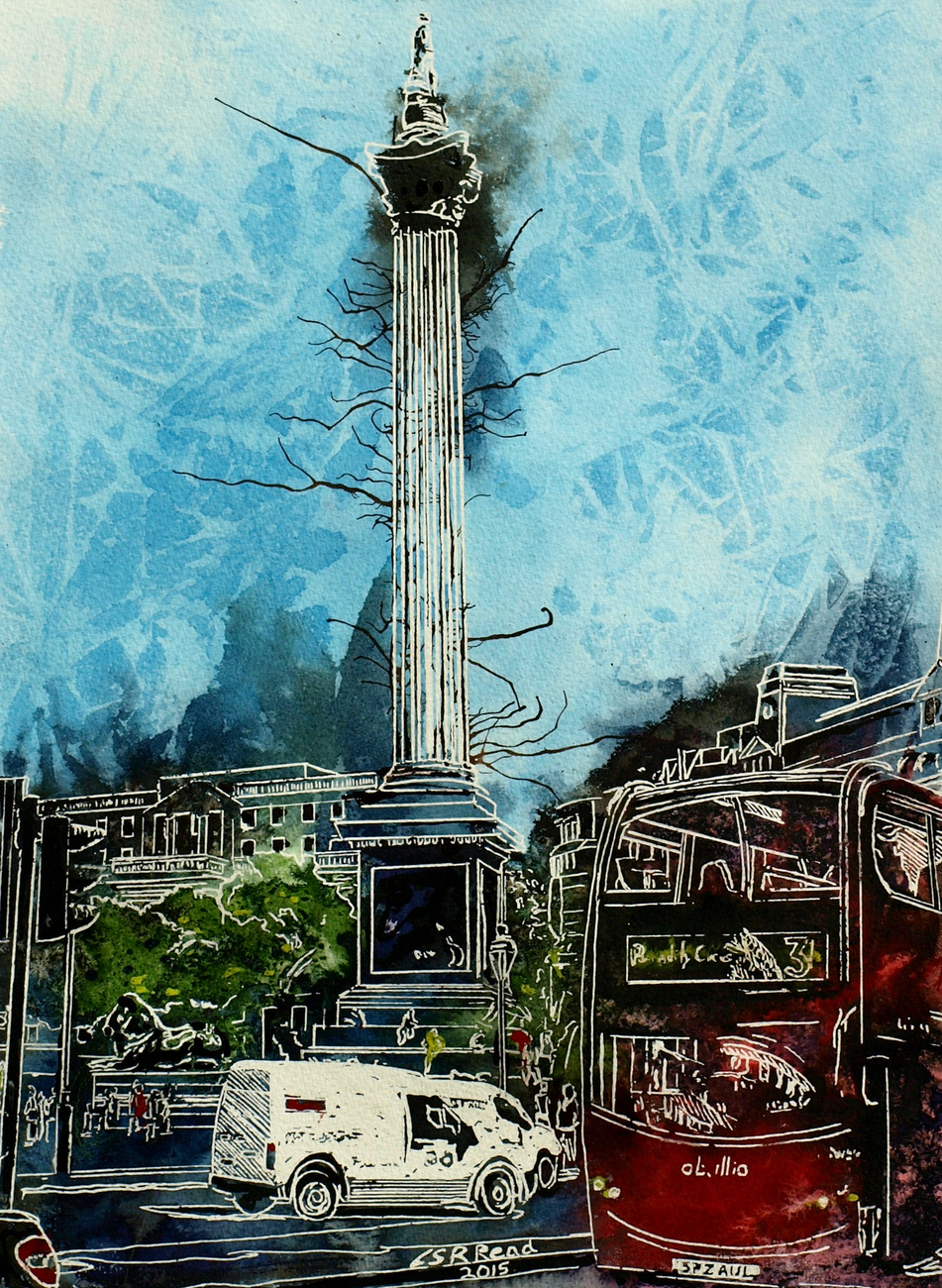 Trafalgar Square - ©2015 - Cathy Read Watercolour and Acrylic  - 38x28 cm