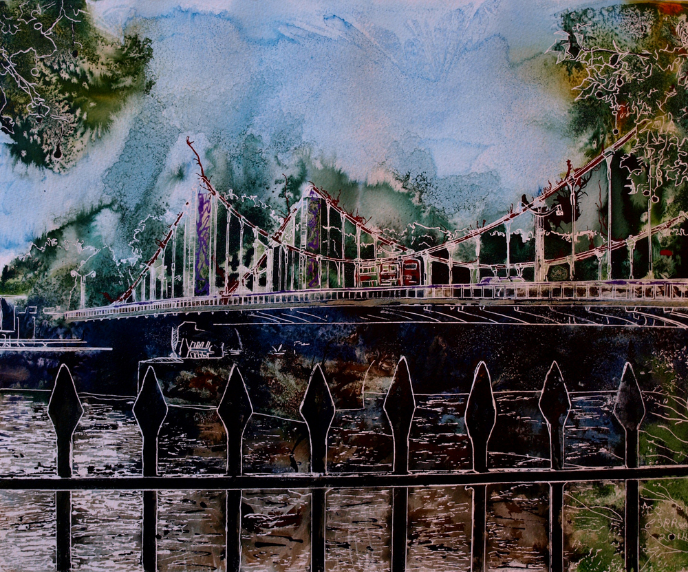 Chelsea Bridge- ©2015 - Cathy Read Watercolour and Acrylic  - 50 x 40 cm