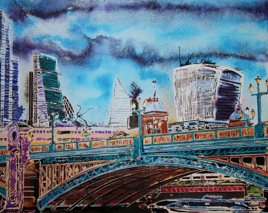Southwark Bridge - ©2020 - Cathy Read - 40 x 50 cm - Watercolour and acrylic ink