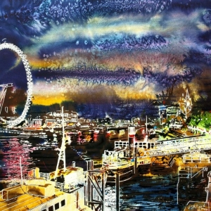 Goodnight Thames - ©2014 - Cathy Read - Watercolour and Acrylic - 54x74 cm