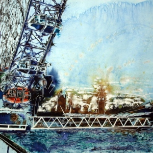 Misty Wheel-©2014-Cathy-Read-Watercolour-and-Acrylic-55-x-75-cm