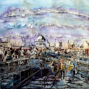 Millennium Bridge Life - ©2016 - Cathy Read  - 50.1-x-67.2cm-£962